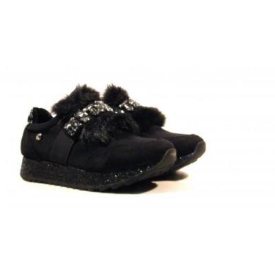 Sneakers serraje con lengueta de pelo